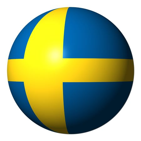 Swedish flag sphere isolated on white illustration illustration