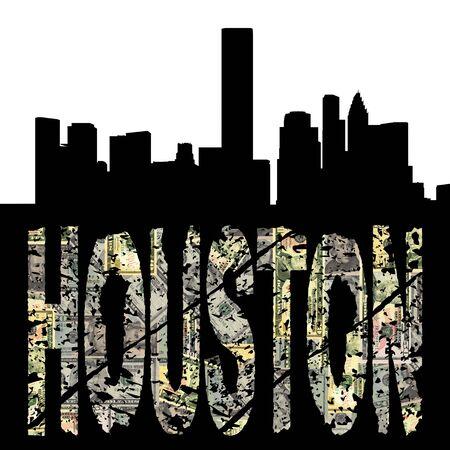 houston: Houston grunge text with skyline