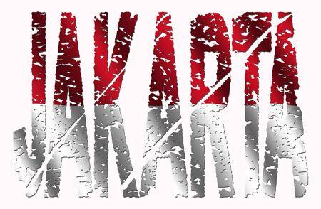 Abstract Jakarta grunge text with Indonesian flag illustration illustration