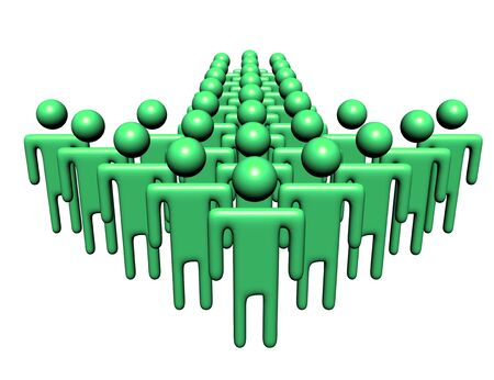 multitude: group of abstract people in shape of arrow illustration