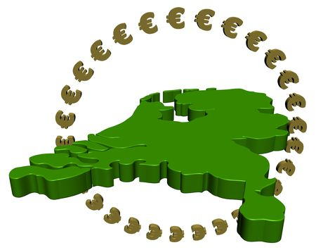 Dutch map with circle of euros photo