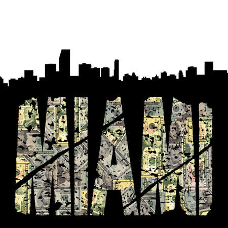 Miami grunge dollar text with skyline illustration illustration