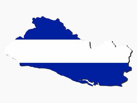 el salvador flag: map of El Salvador and their flag illustration