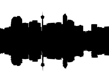 Calgary Skyline reflected with ripples silhouette illustration