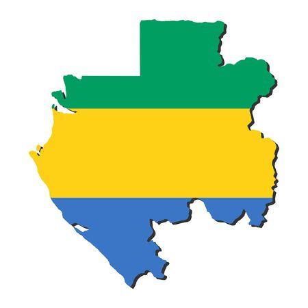 gabon: map of Gabon and their flag illustration