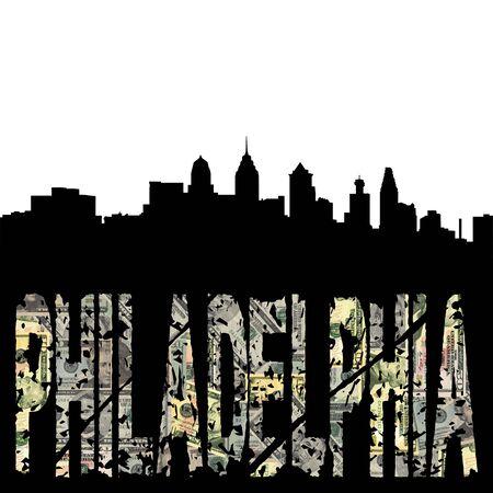 Philadelphia grunge text with skyline photo