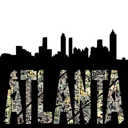 Atlanta grunge dollar text with skyline illustration illustration