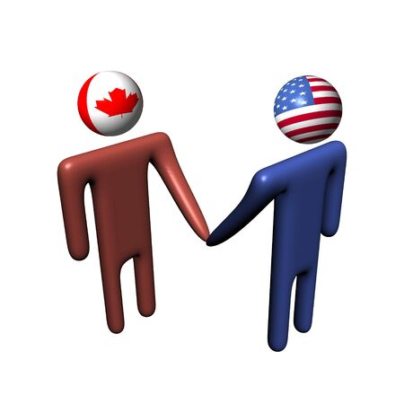 canadian flag: people shaking hands with Canadian and American flag heads
