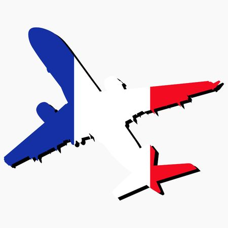 french flag: plane silhouette with French flag on white illustration Stock Photo