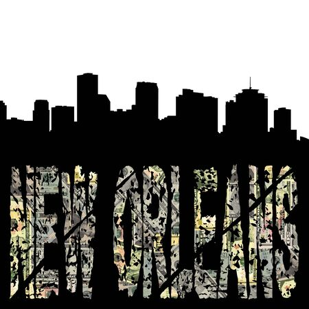 New Orleans grunge text with skyline photo