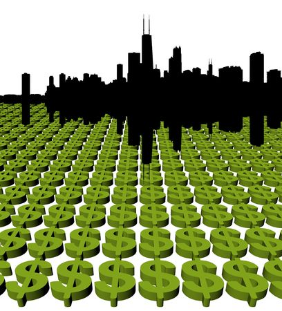 Chicago Skyline with green dollar symbol illustration