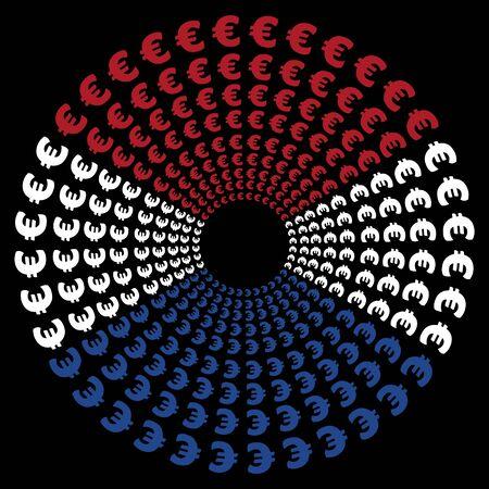 dutch flag: Concentric circles of euro symbols with Dutch flag illustration