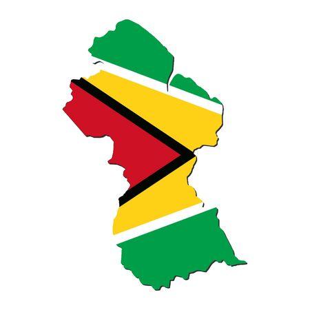 Guyana: Guyana map flag Stock Photo
