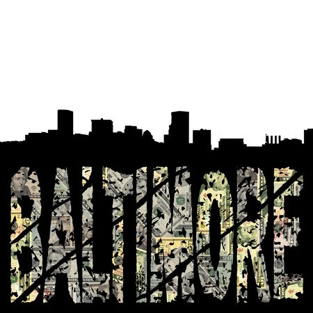 Baltimore grunge dollar text with skyline illustration illustration