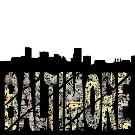 baltimore: Baltimore grunge dollar text with skyline illustration
