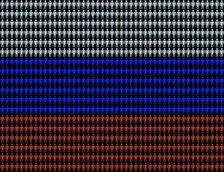 numerous: Russian workforce with numerous abstract people and flag