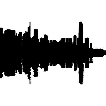 hong kong skyline: Hong Kong Skyline reflected with ripples silhouette