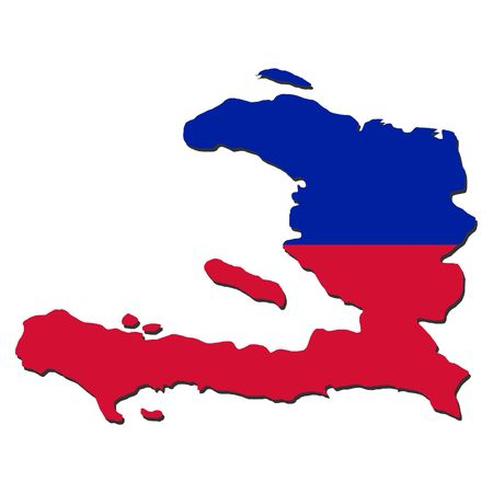 haitian: map of Haiti and their flag illustration
