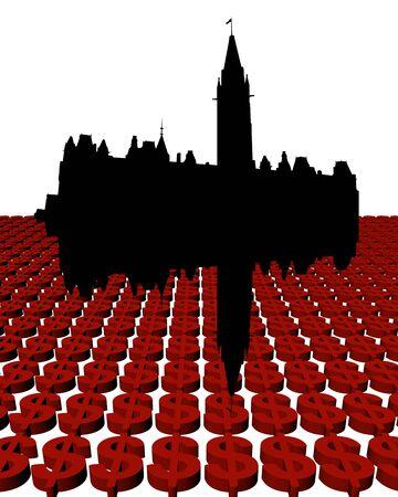 Ottawa Skyline with dollars illustration illustration