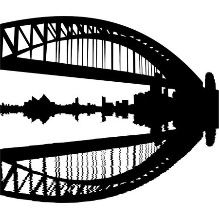 port: Sydney Harbour Bridge reflected with ripples silhouette