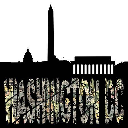 washington monument: Washington DC dollar text with skyline illustration
