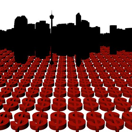 calgary: Calgary Skyline with dollars illustration