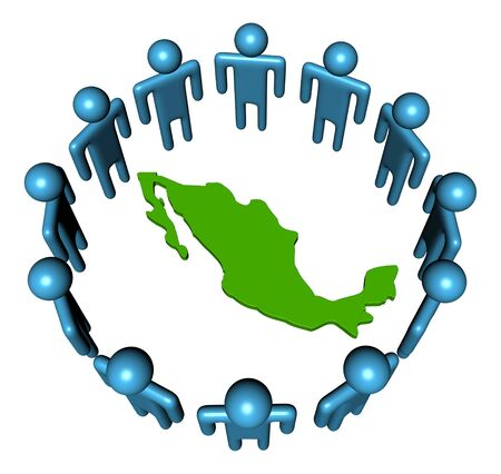 Circle of abstract people around Mexico map illustration Stock Illustration - 6040356
