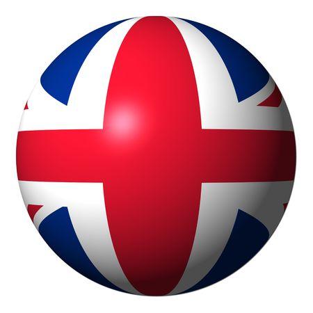 英国の旗の球の分離白図