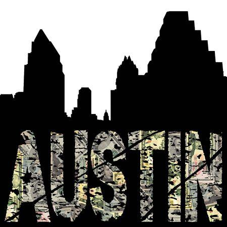 Austin grunge dollar text with skyline illustration illustration