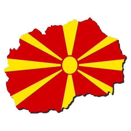 macedonia: map of Macedonia and their flag illustration