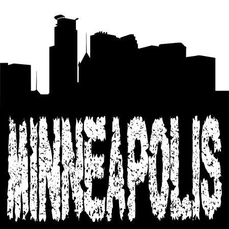 grunge Minneapolis text with skyline illustration illustration