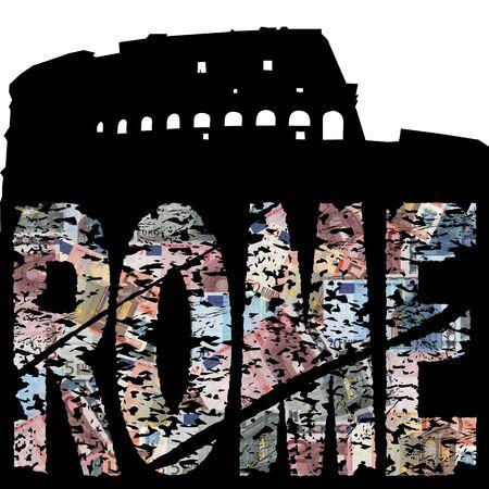 colloseum: Rome euro grunge text with Colloseum illustration Stock Photo
