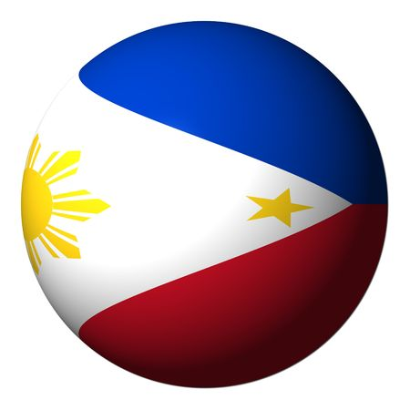 Philippine flag sphere isolated on white illustration