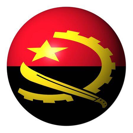 angola: Angola flag sphere isolated on white illustration