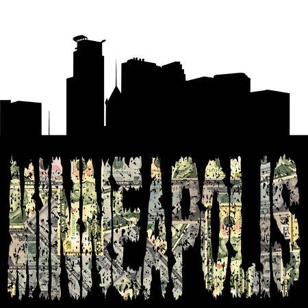 Minneapolis grunge dollar text with skyline illustration illustration