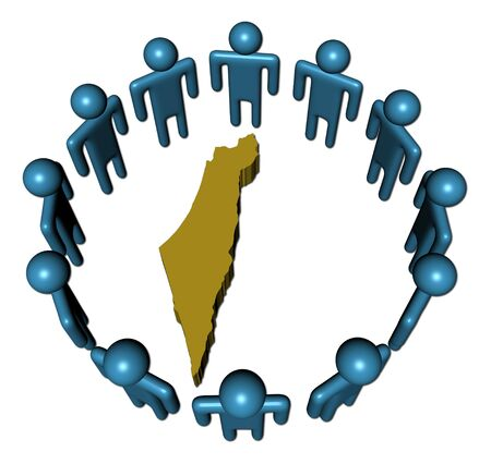 israel people: Circle of abstract people around Israel map illustration
