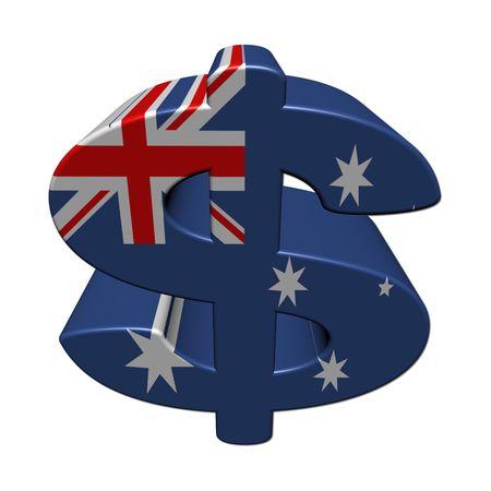 Australian dollar symbol with flag on white illustration Stock Photo