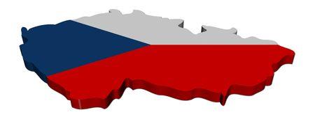 Czech Republic map flag 3d render on white illustration illustration