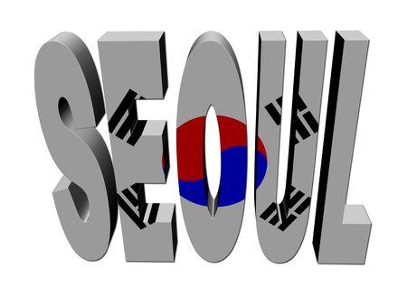 seoul: Seoul text with flag on white illustration