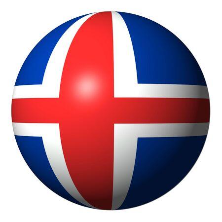 the icelandic flag: Iceland flag sphere isolated on white illustration
