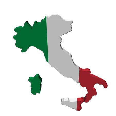 Procesamiento de 3d de bandera de mapa de Italia en ilustración blanco