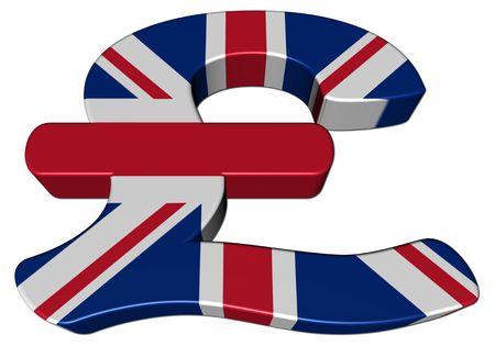 British Pound symbol with flag on white illustration Stock Illustration - 6220360