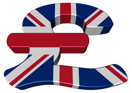British Pound symbol with flag on white illustration Stock Illustration - 6220360