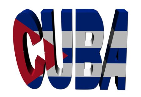 cuba flag: Cuba text with flag on white illustration