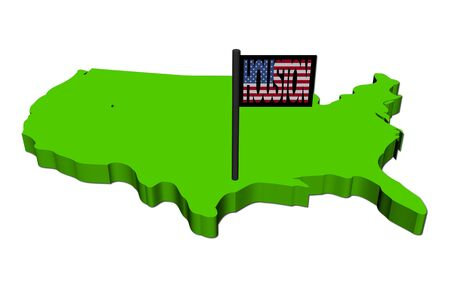 houston: Map of USA with Houston text American flag illustration