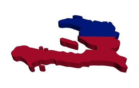 haitian: Haiti map flag 3d render Stock Photo