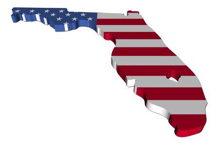 flag of america: Florida map flag 3d render on white illustration Stock Photo