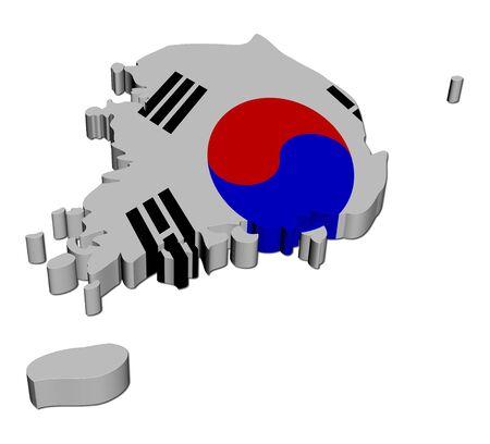 South Korea map flag 3d render on white illustration illustration