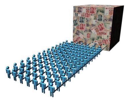 renminbi: teamwork abstract people pulling cube of Yuan