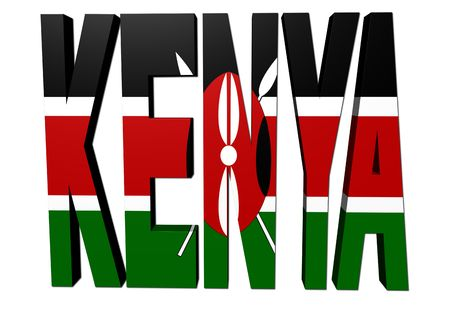 Kenya text with Kenyan flag on white illustration
